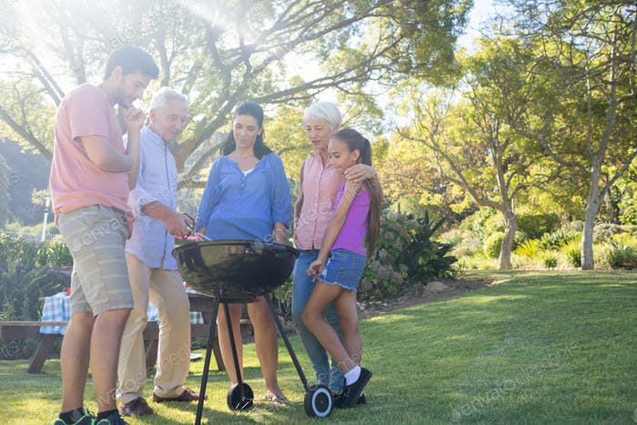 Family preparing barbecue in the park