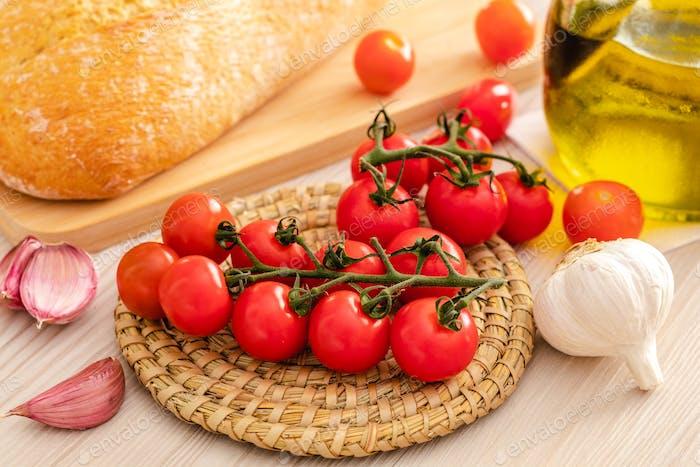 Mediterranean food bread oil olive and tomato