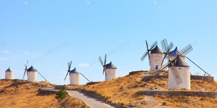 Windmills of Consuegra landmark, panorama. Castile La Mancha, Spain, Europe.