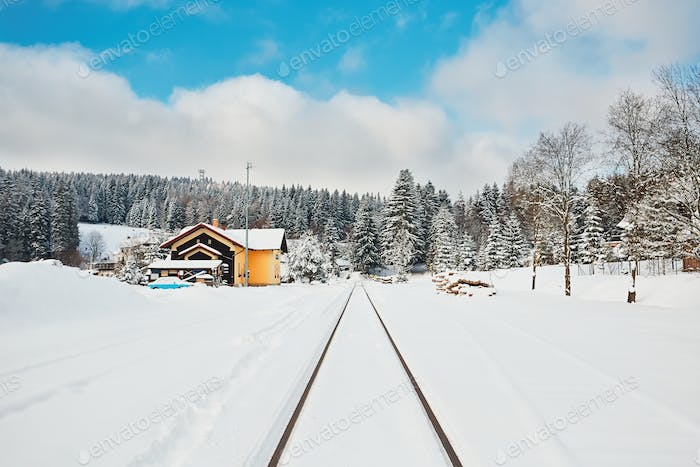 Old railway station in winter