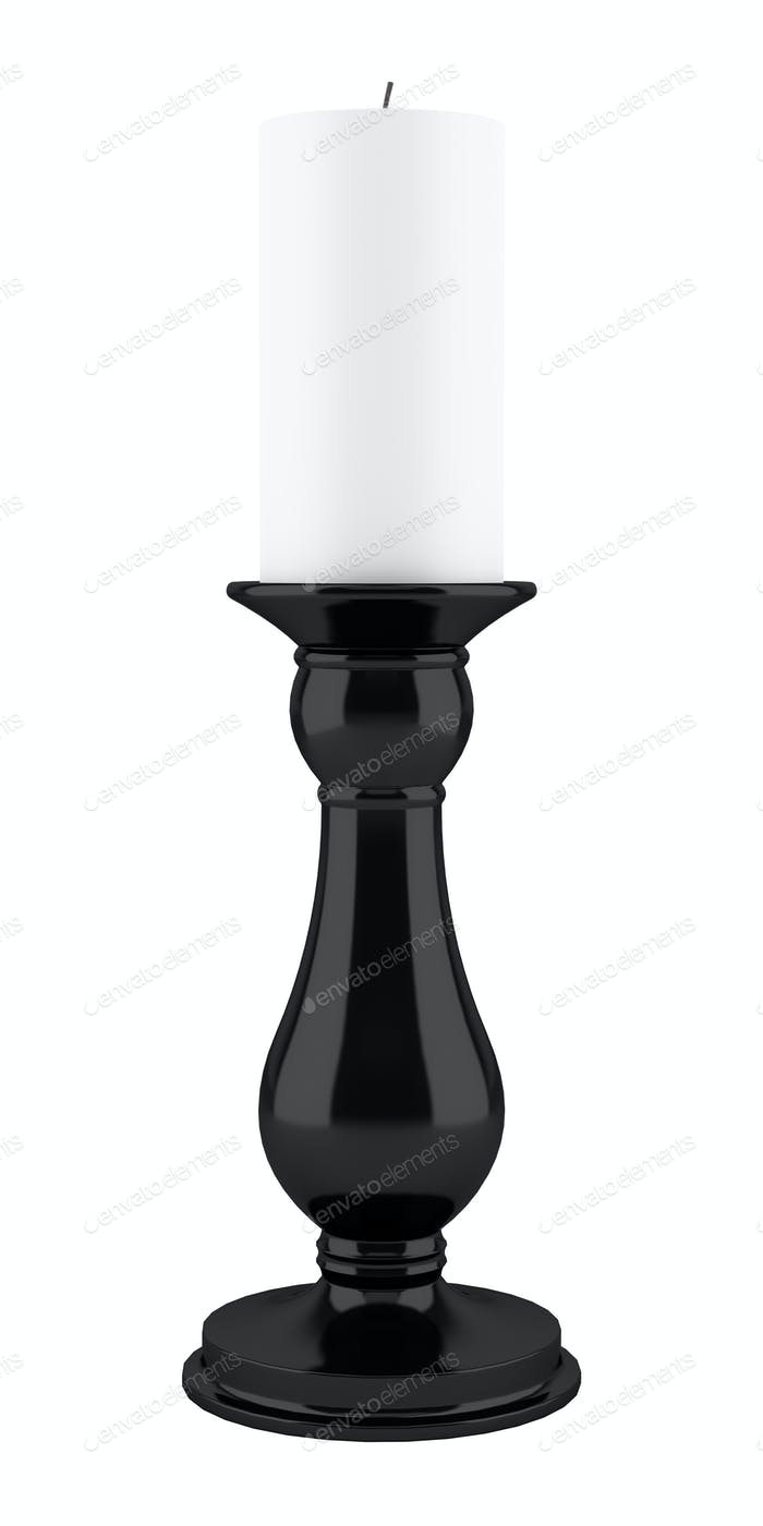 black candlestick with candle isolated on white background. 3d illustration