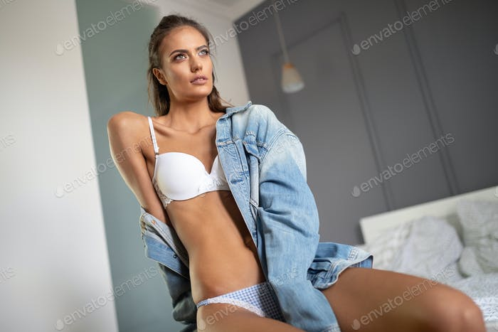 Beautiful sensual young woman in sexy lingerie