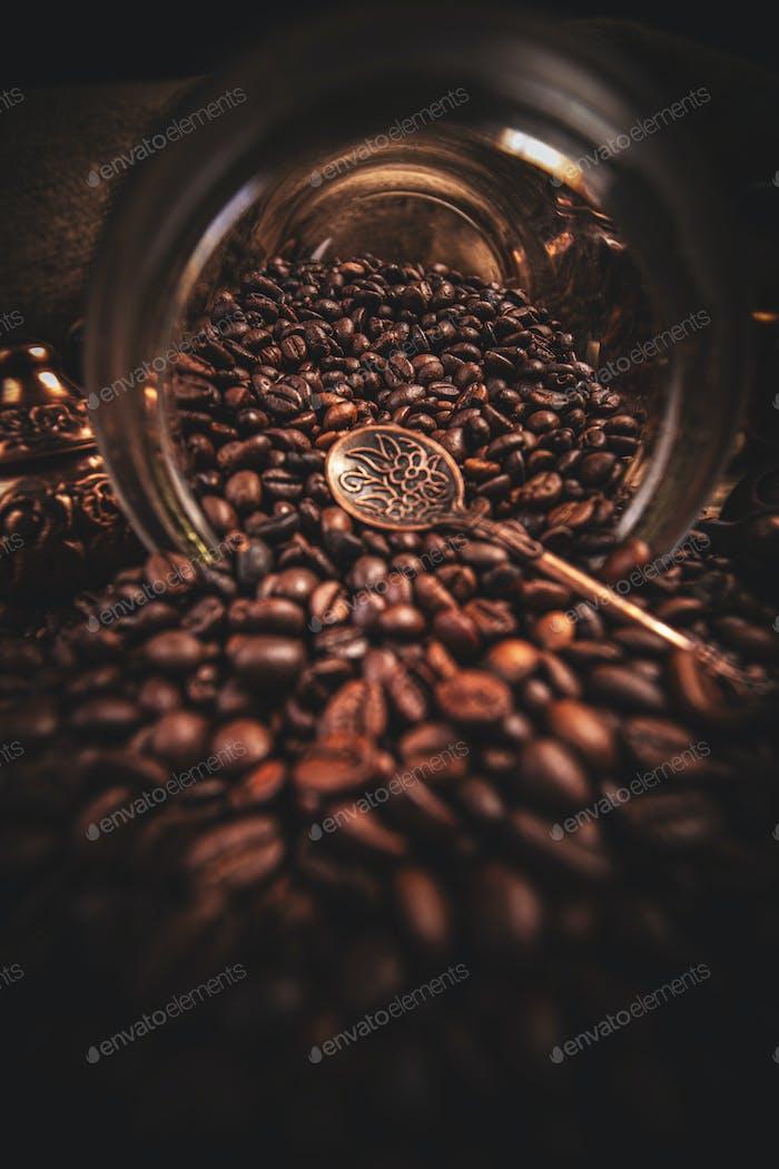 Concepto de granos de café
