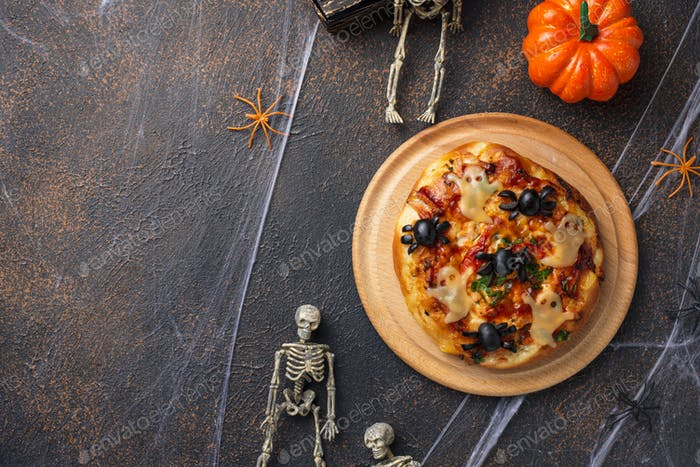 Halloween scary pizza decorated ghosts