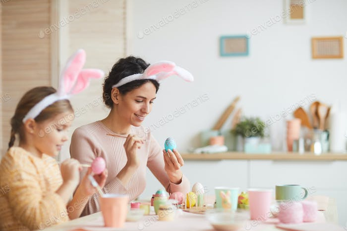 Family Enjoying Easter Preparations at Home