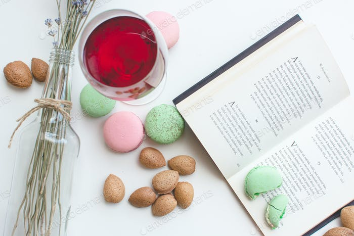 Thumbnail for Sweet pause with macarons and book