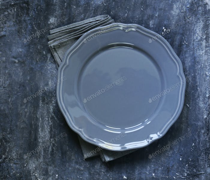 Empty Gray Plate