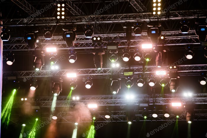 Portrait of concert lights on music stage