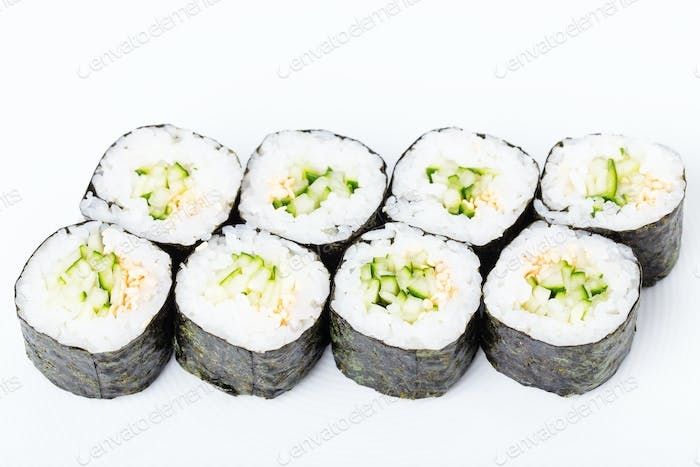 Vegetarian japanese sushi roll with cucumber.