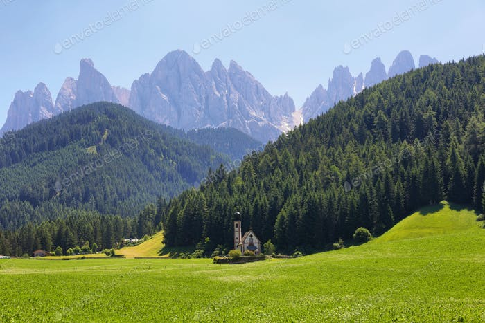 Mountain views St Giovanni Ranui, Val di Funes, Dolomite Alps, Italy