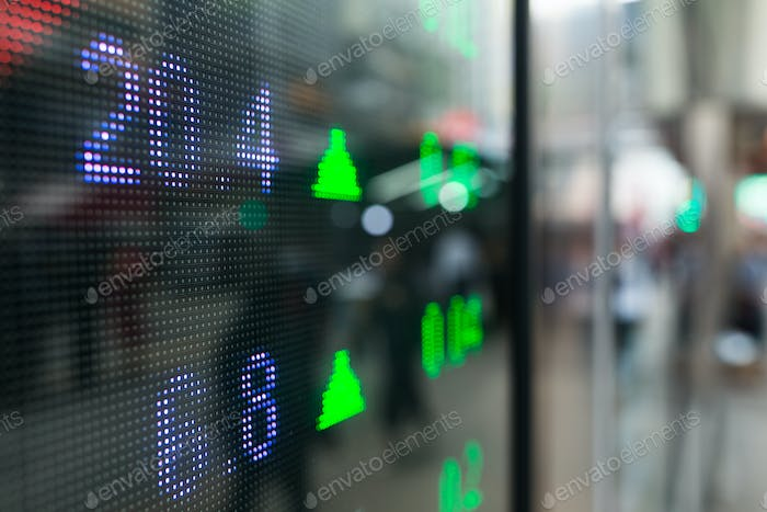 Stock market prices screen at street