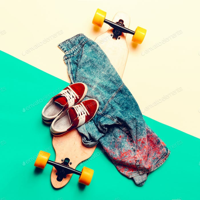 Skateboard, jeans, sneakers, Love Urban fashion. minimal design