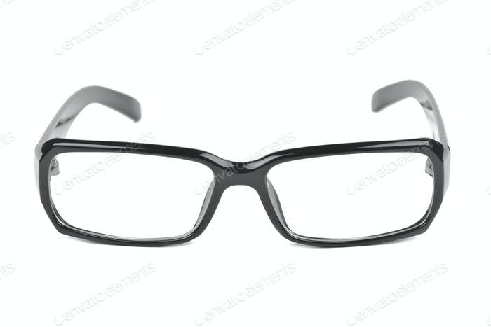 modern black glasses isolated on white background