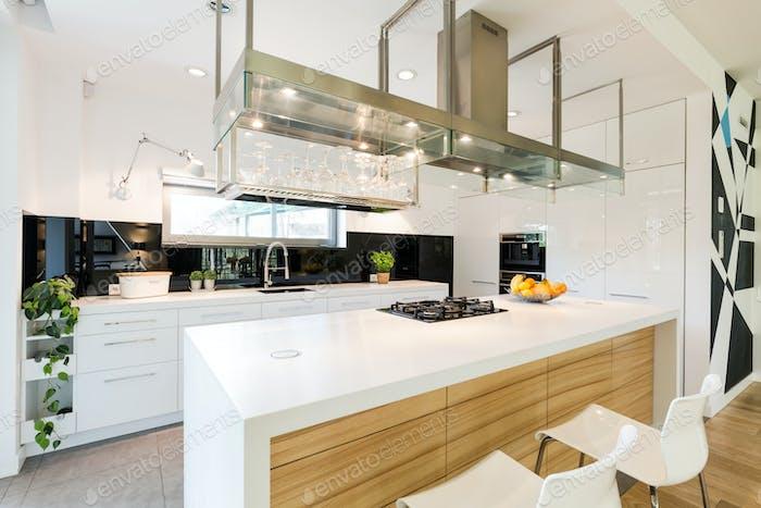 Loft kitchen with large worktop