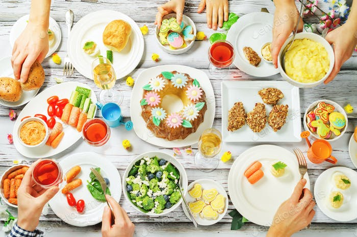 Spring Easter main dish celebration family concept