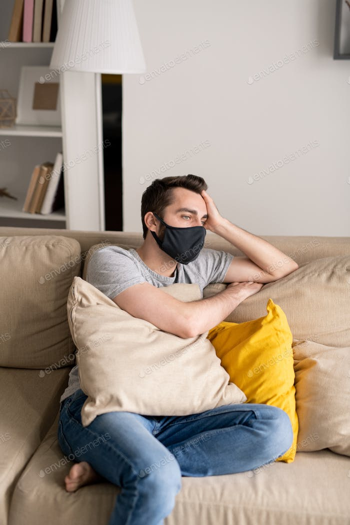 Man in depression during quarantine