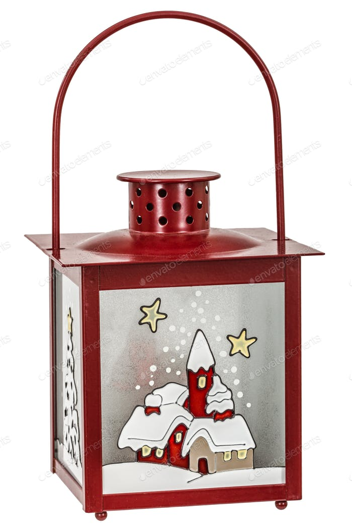 Decorative lantern in the style of the Christmas holidays, isola