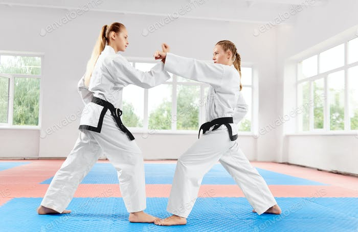 Two athletic girls struggling using karate techniques in light karate class