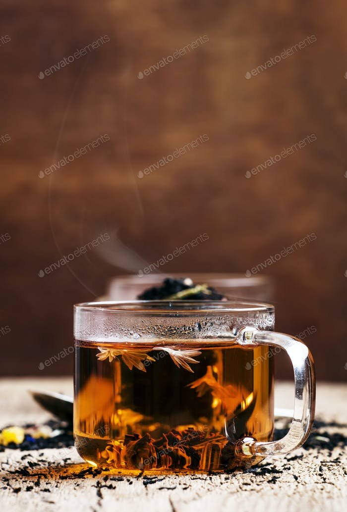 Dry Ceylon black tea with cornflower blue flowers