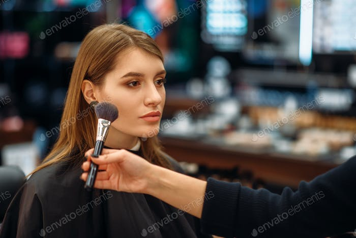 Cosmetologist and female client in makeup shop