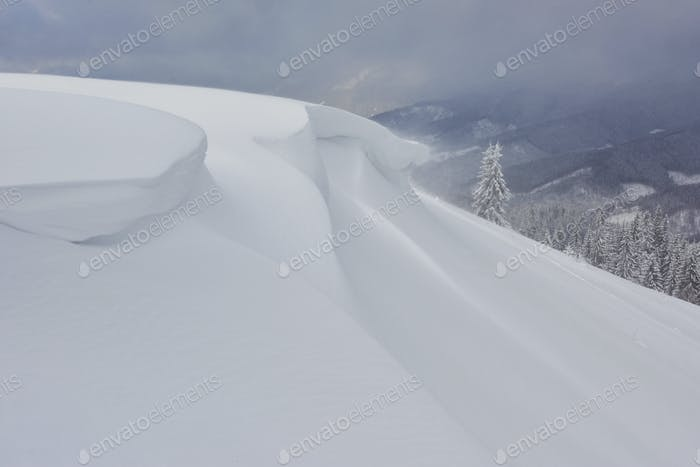 Beautiful winter landscape with snow covered trees and snow cornice
