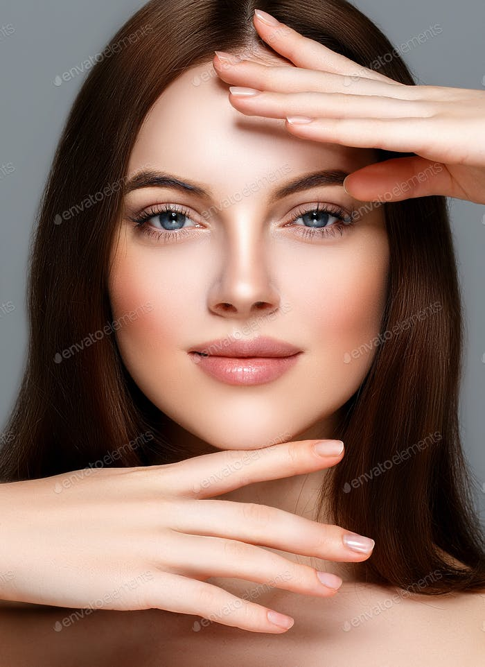 Woman Portrait Close Up Beautiful Face Healthy Natural Skin