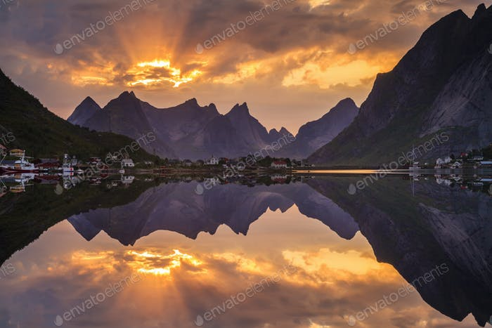 Sunset over fjord in Norway