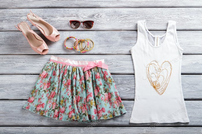 White tank top and skirt.
