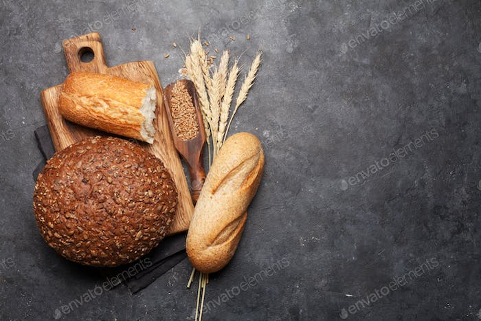 Various bread with wheat and flour