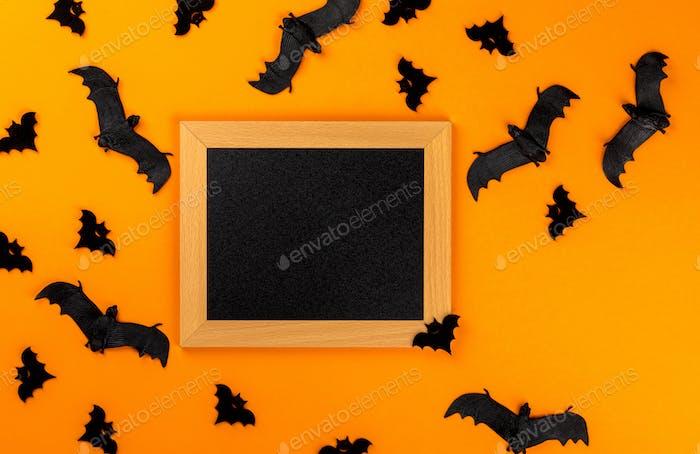 Halloween Postkarte Traditionelles Fest des Herbstes. Dekoration und Partykonzept.