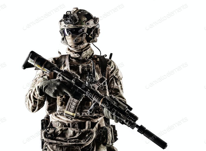 Modern army armed ranger isolated studio portrait