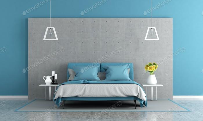 Blaue und graue Hauptschlafzimmer