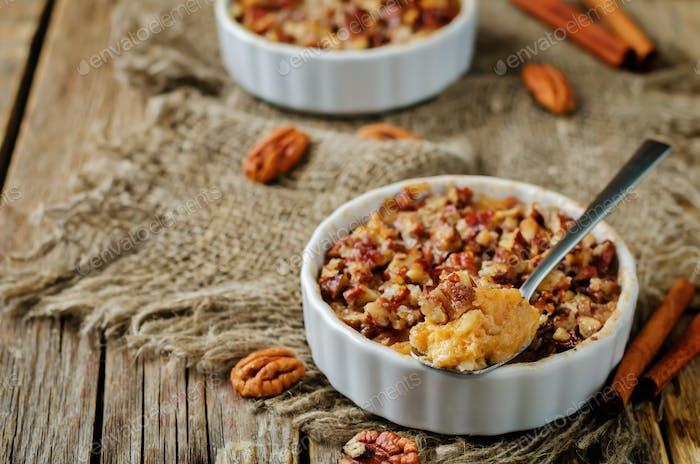 Sweet potato banana baked oatmeal with pecan crumb crust