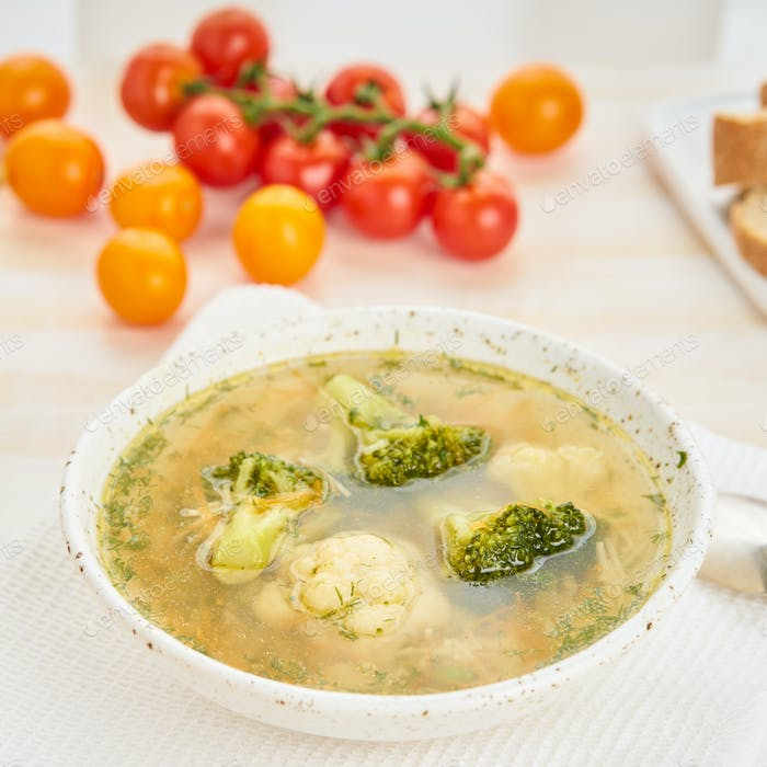 Broccoli  soup, healthy spring vegetable dietary vegetarian dish, top view, close up, side view