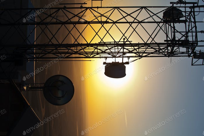 54561,Silhouette of communications tower against sunset sky