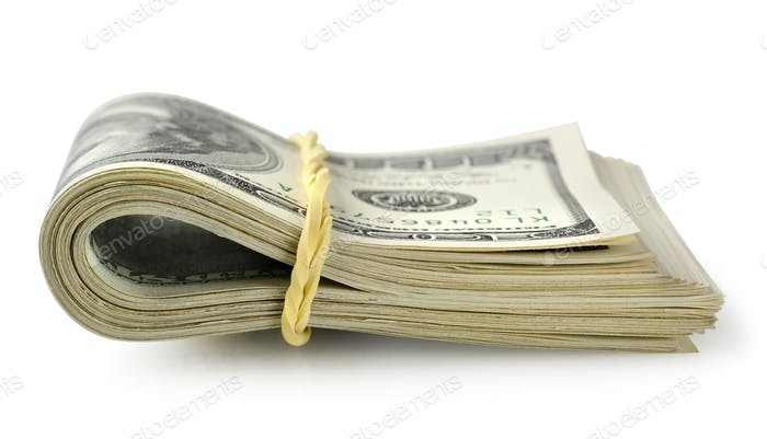 Bundle of money isolated