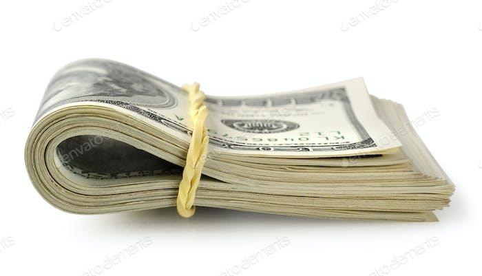Bündel von Geld isoliert