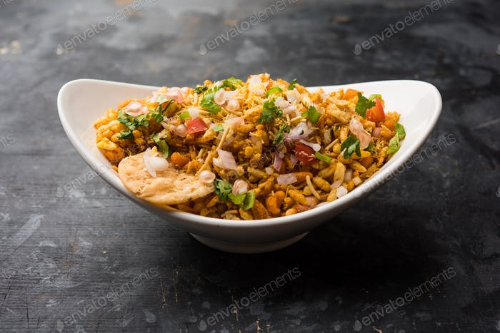 Bhelpuri chat is a savoury snack, originating from India