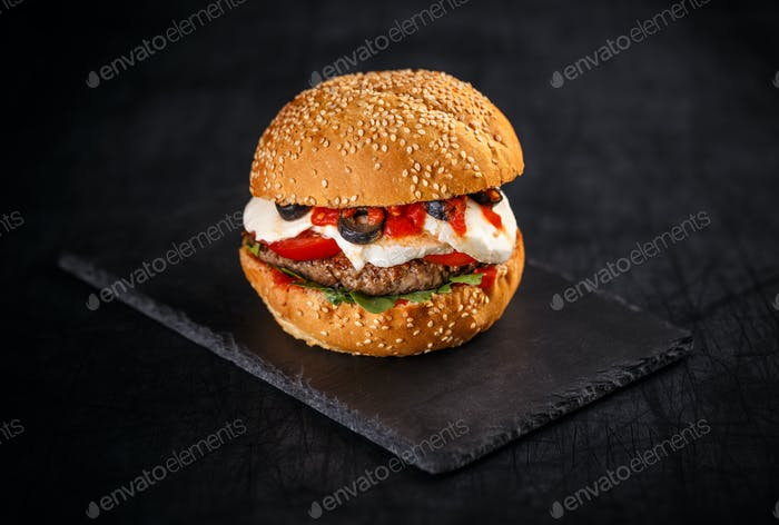 Tasty burger with beef patty
