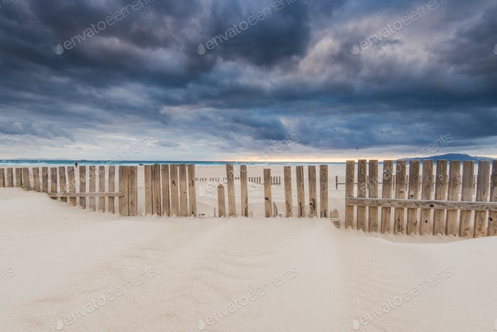 sky before storm at beach by ocean in Spain