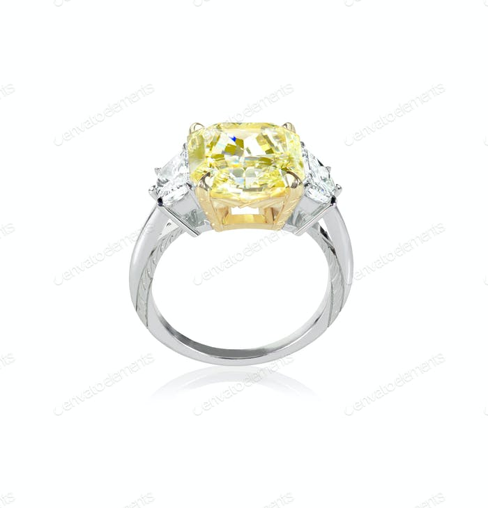 Side view canary yellow diamond engagment ring