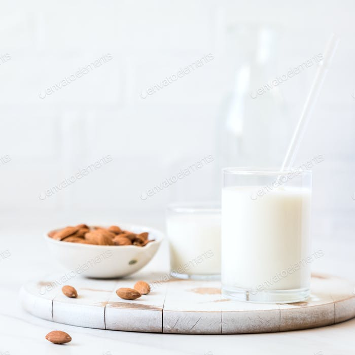 Almond milk.Drink for vegetarians.