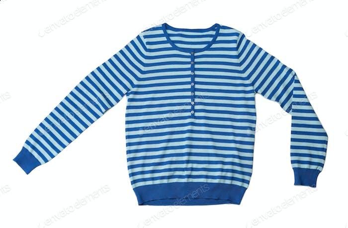 Blue striped wool sweater in the studio