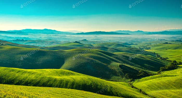 Volterra foggy panorama, rolling hills and green fields in the m