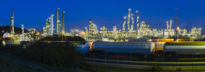 Heavy Industry Panorama At Night