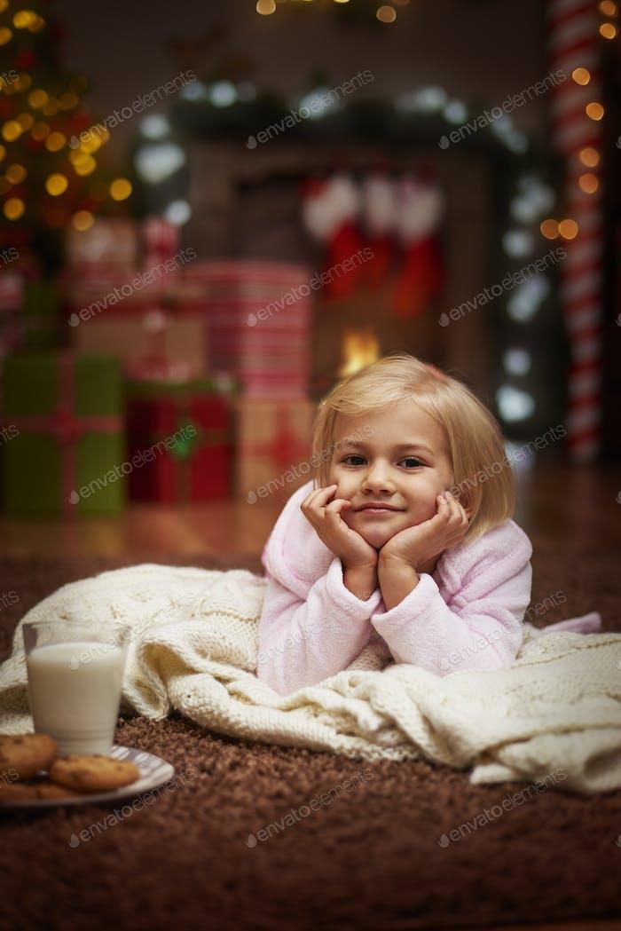 Sie wartet darauf, St. Claus zu kommen