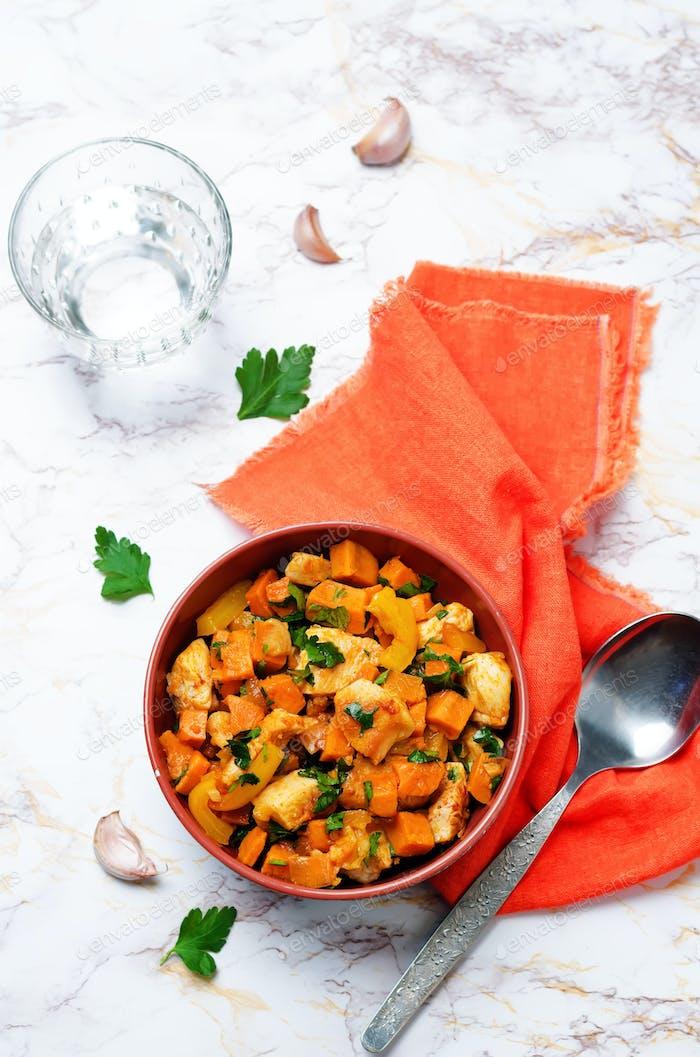 Süßkartoffel-Hähnchenpfanne