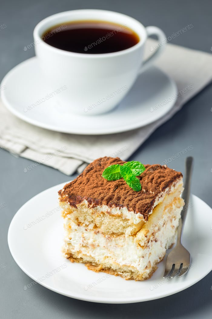 Stück traditioneller italienischer Tiramisu Dessertkuchen auf einem weißen Pl