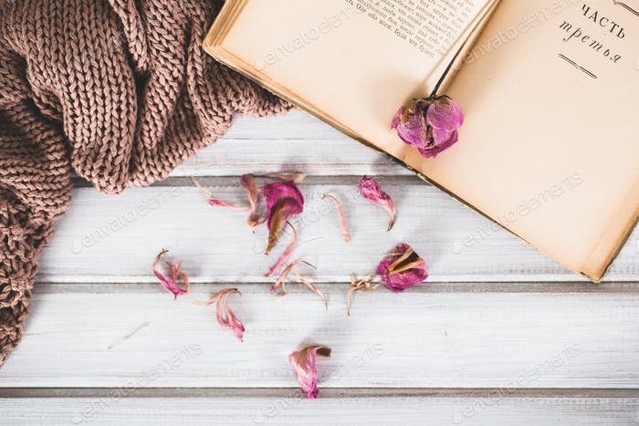 Dried flowers with a book and a warm scarf on wooden background