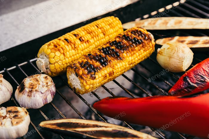 Corn And Peppers Grilled For Outdoors Barbecue